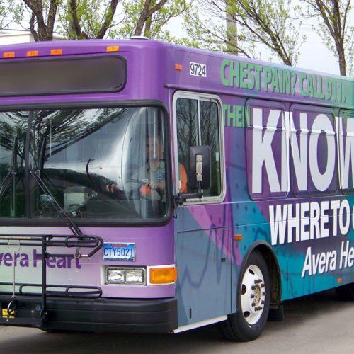 Avera Heart Hospital bus car wrap