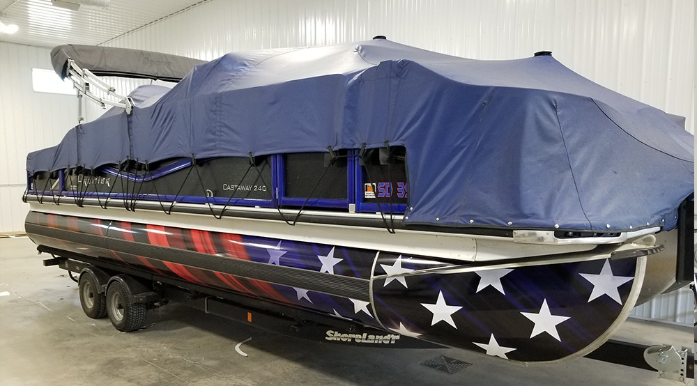 pontoon after vinyl wrap