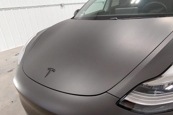 Tesla vehicle wrap - flat black - hood view