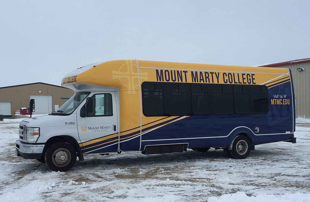 College bus wrap
