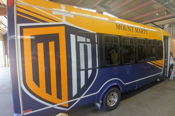 Mount Marty bus wrap